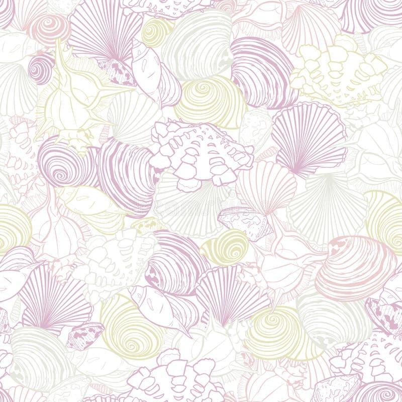 Het vectorwit herhaalt patroon met verscheidenheid van het overlaping van zeeschelpen Romantisch roze en purper pastelkleurthema  royalty-vrije illustratie