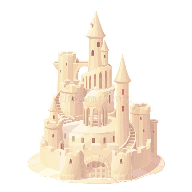 Het vectorzand van het fantasiekasteel, zandkasteel vector illustratie