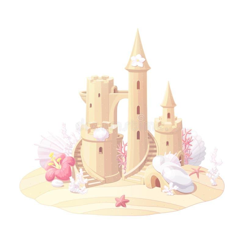 Het vectorzand van het fantasiekasteel, zandkasteel royalty-vrije illustratie