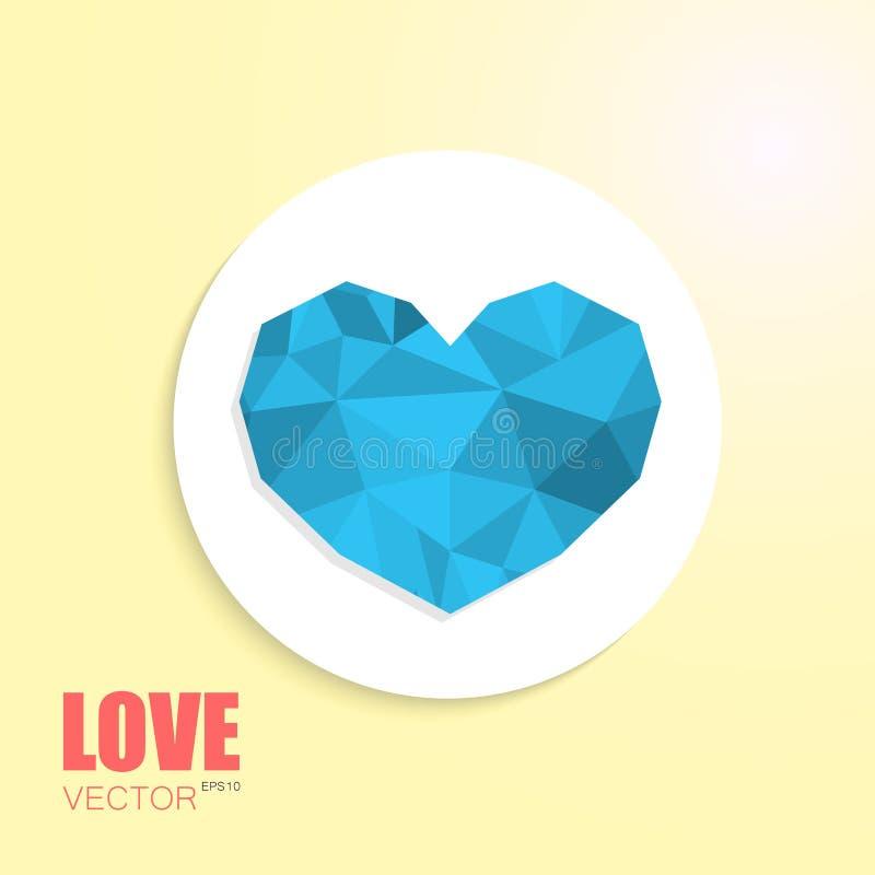 Het veelhoekige blauwe hart verwijderde wit cirkeldocument royalty-vrije illustratie