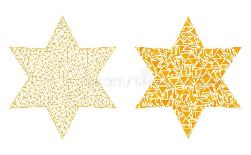 Het veelhoekige 2D Pictogram van Mesh Six Corner Star en van het Mozaïek stock illustratie