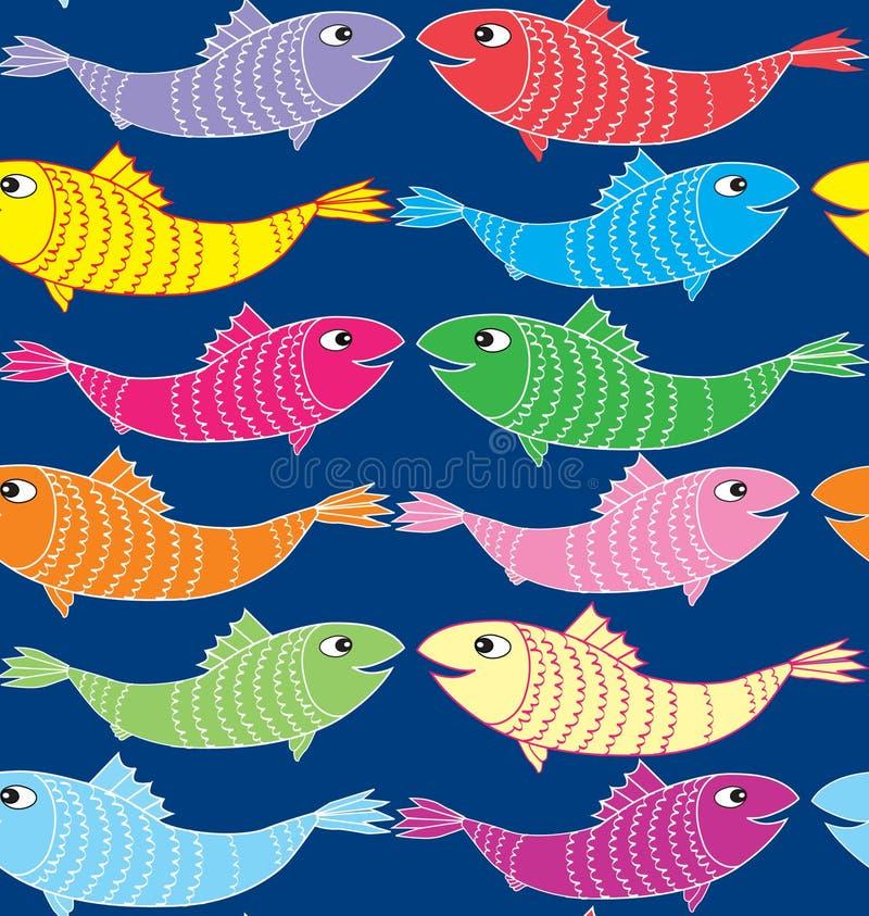 Het veelkleurige Naadloze Patroon van Vissen vector illustratie