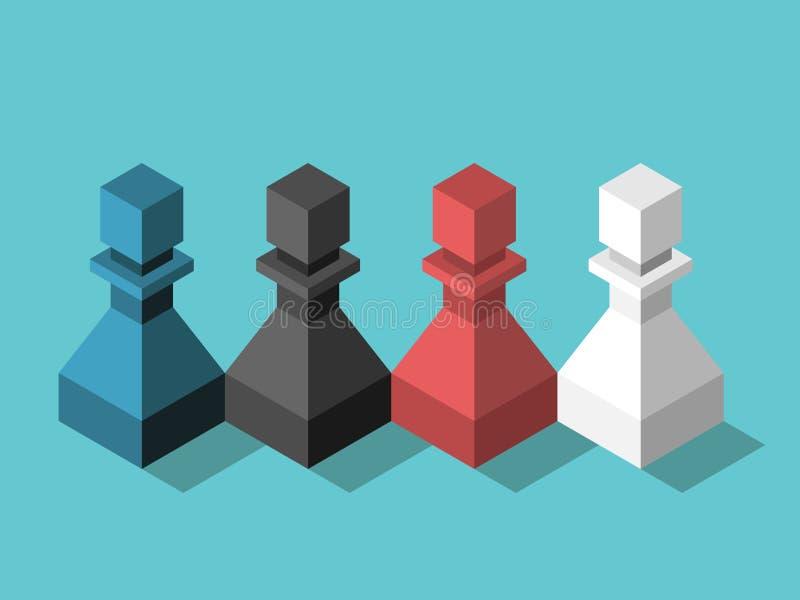 Het veelkleurige team van schaakpanden stock illustratie