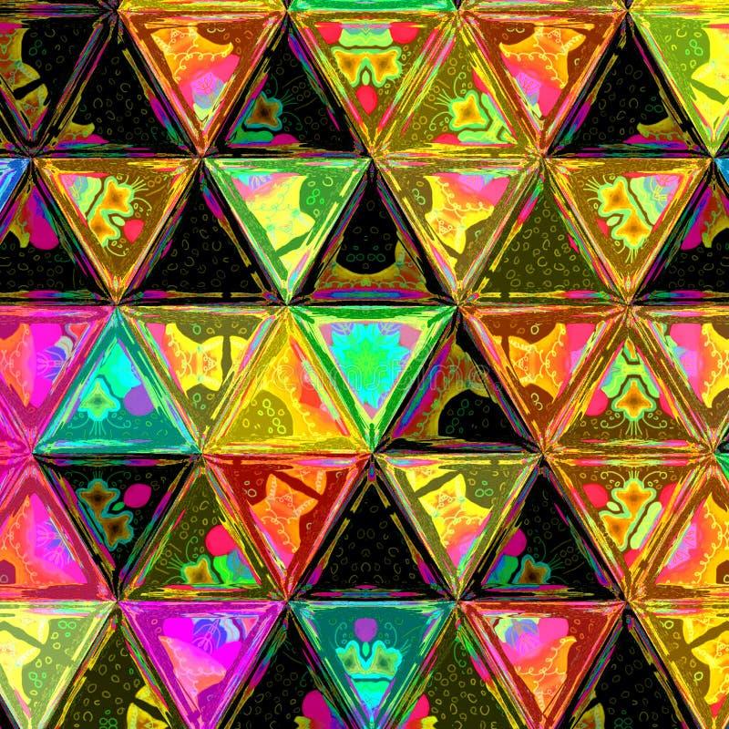 Het veelkleurige Vierkant van de Gradiëntdriehoek betegelt Geometrisch Patrooneffect gebrandschilderd glas royalty-vrije stock fotografie
