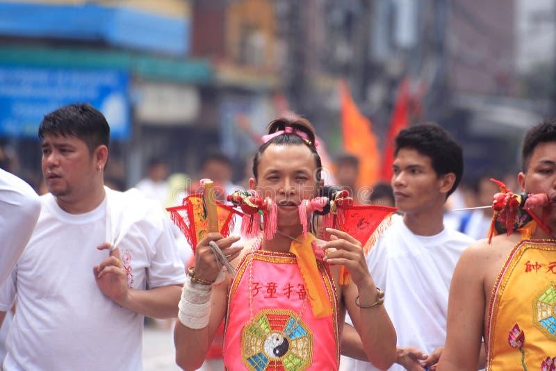 Het Vegetarische Festival van Phuket stock afbeeldingen
