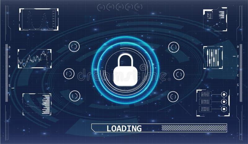 Het veiligheidsscherm Futuristisch gebruikersinterface stock illustratie