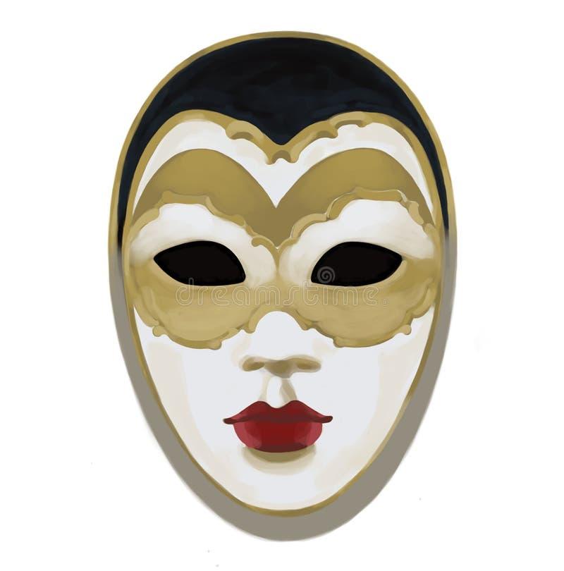 Het Venetiaanse masker van Carnaval, tekening, illustratie stock illustratie