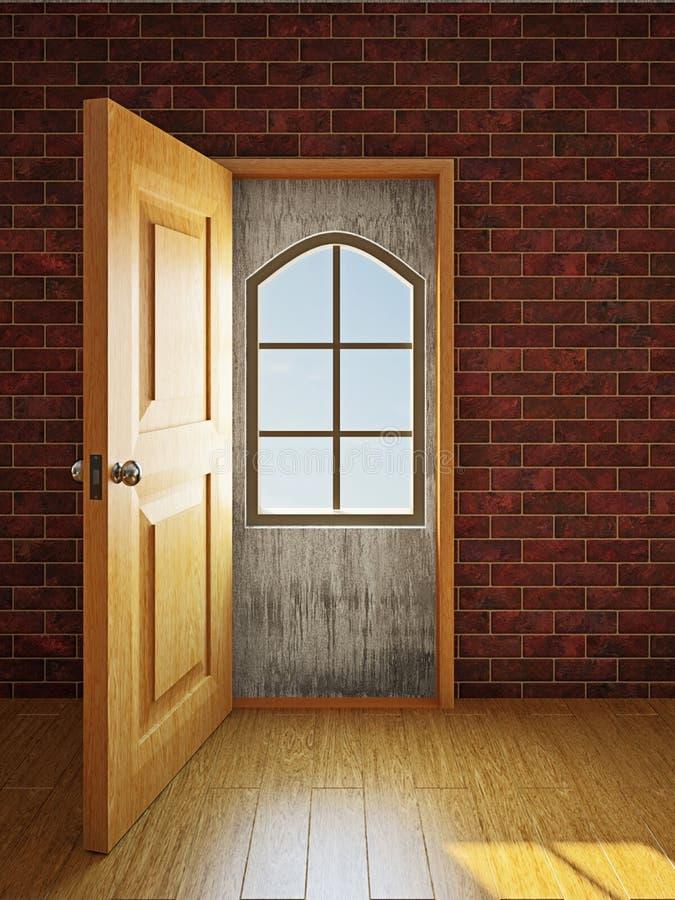 Het venster in de deuropening royalty-vrije illustratie