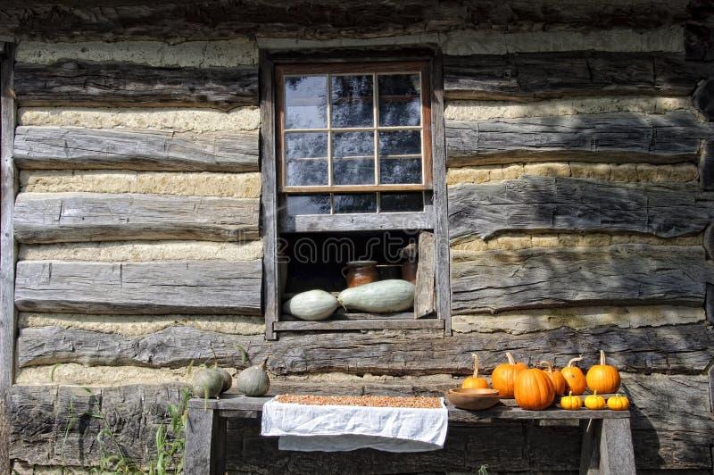 Het Venster van de cabine met Pompoenen royalty-vrije stock foto