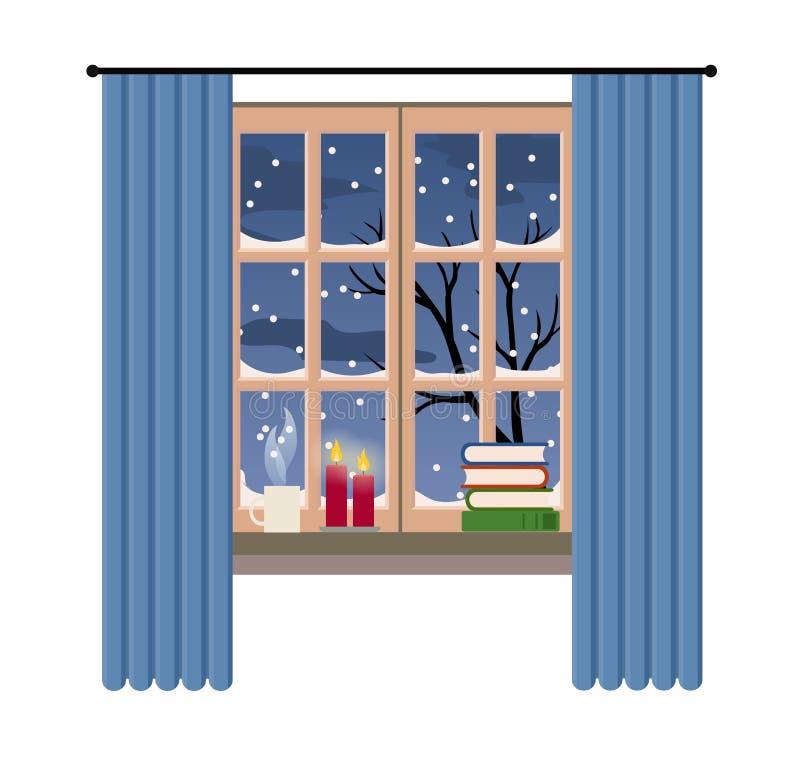 Het venster van de Kerstmisstijl met de winter en sneeuwmening, vectorillustratie stock illustratie