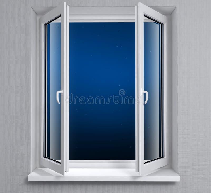 Het venster van de nacht stock foto