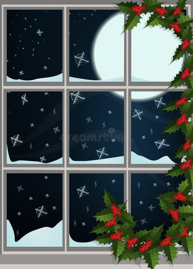 Het venster van de winter royalty-vrije illustratie