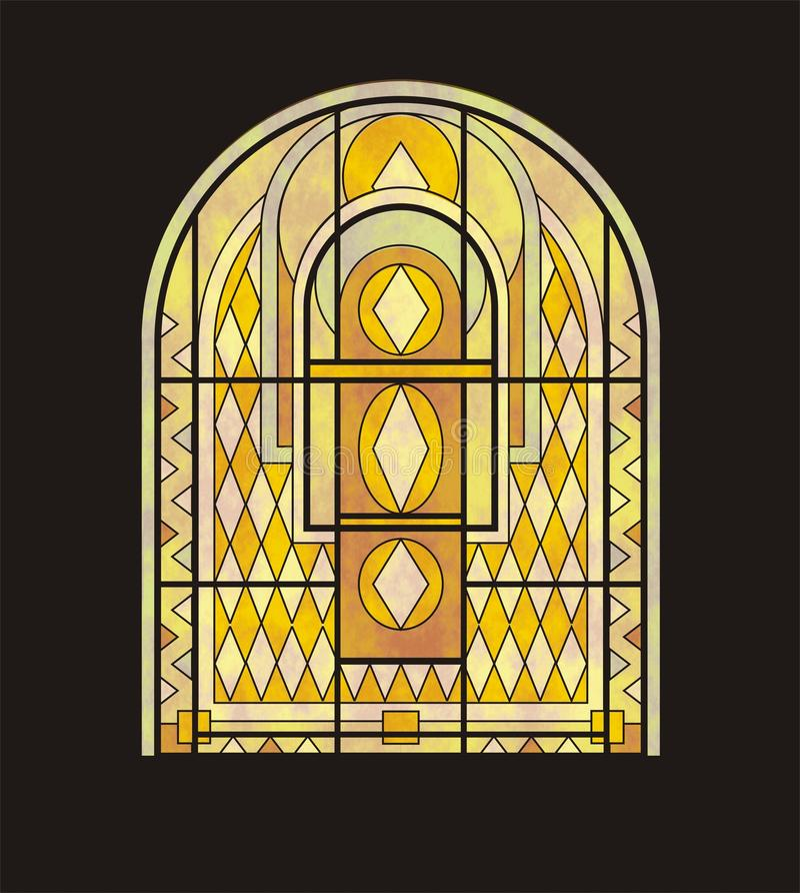 Het venster van het gebrandschilderd glas voor een halfrond venster stock illustratie