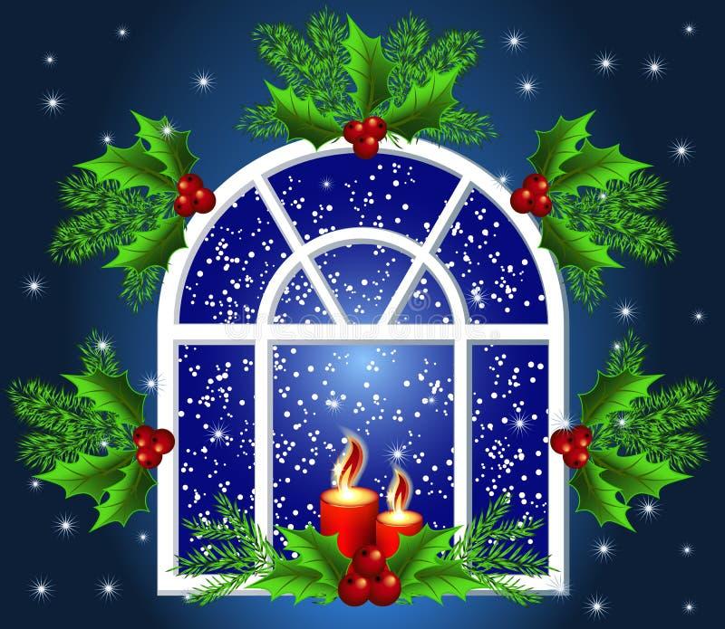 Het venster van Kerstmis royalty-vrije illustratie