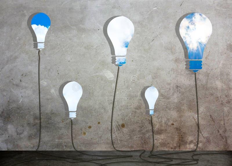 Het venster van vele Ideeoplossingen in concrete ruimte ziet door aan blauwe hemel en zon, Bedrijfsconcept stock illustratie