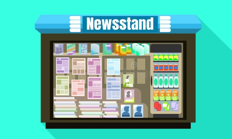 Het vensterpictogram van het kioskglas, vlakke stijl stock illustratie