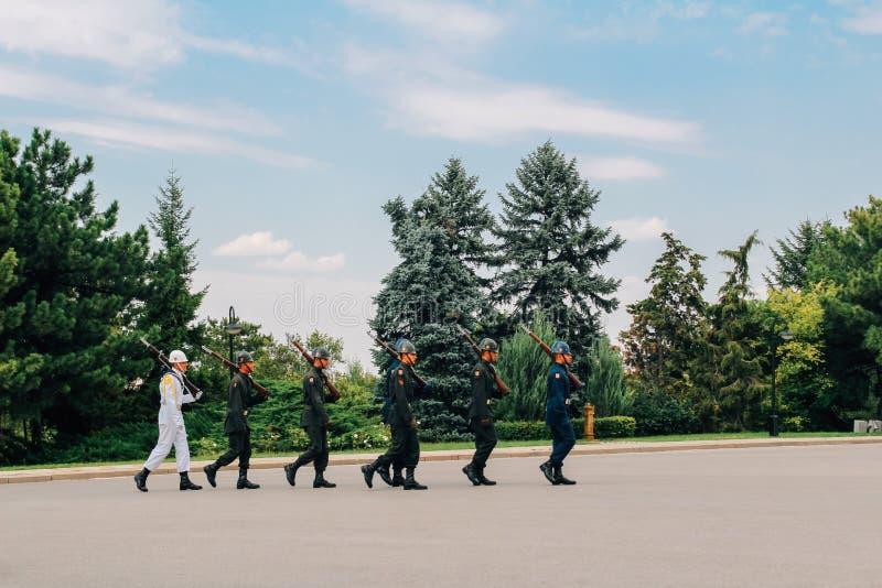 Het veranderen van de Wacht in Anitkabir, Mausoleum van Ataturk in Ankara, Turkije stock foto's