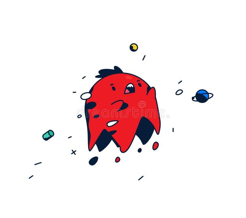 Het verbazen, beeldverhaalkarakter Rood hoofd die in ruimte levitatie ondergaan Leuk monster Vector Het schepsel van de pretfanta vector illustratie