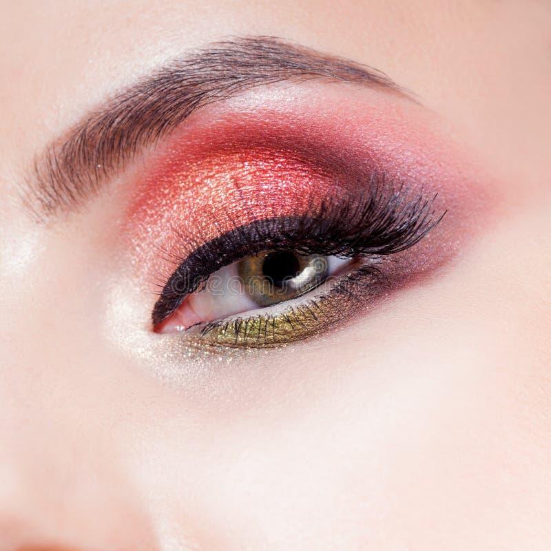 Het verbazen Heldere oogmake-up in luxueuze scharlaken schaduwen Roze en blauwe kleur, gekleurde oogschaduw stock afbeeldingen