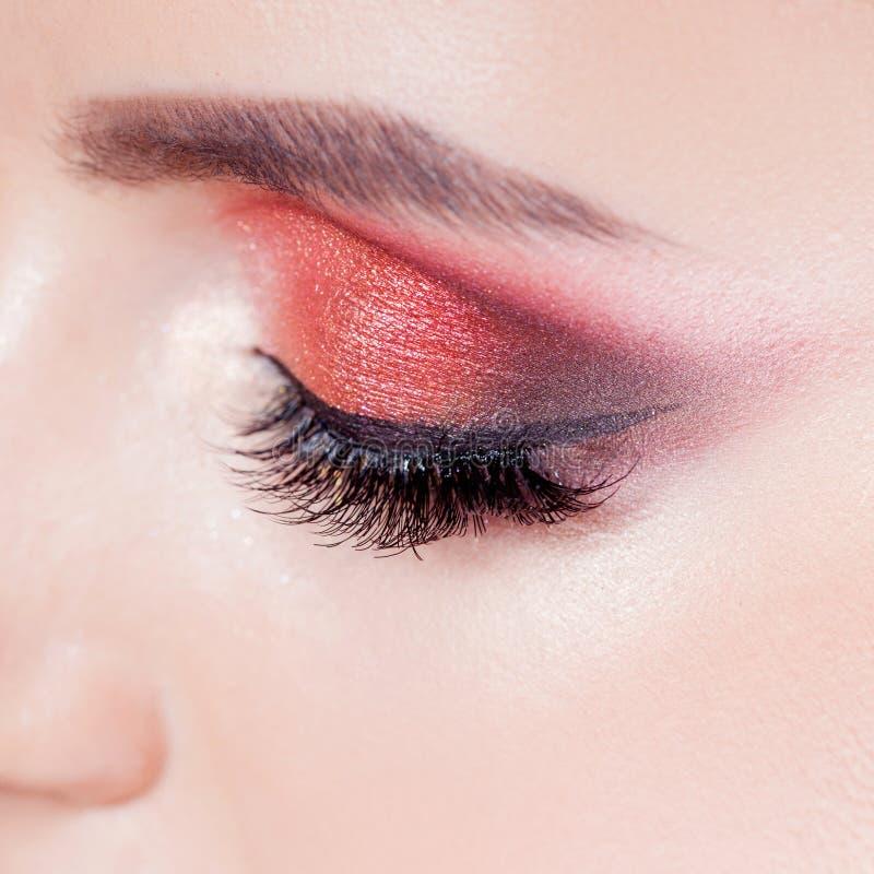 Het verbazen Heldere oogmake-up in luxueuze scharlaken schaduwen Roze en blauwe kleur, gekleurde oogschaduw royalty-vrije stock fotografie