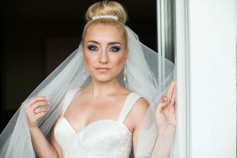 Het verbazen van het blondebruid van elegantie leuke stilysh stelt op bac stock foto