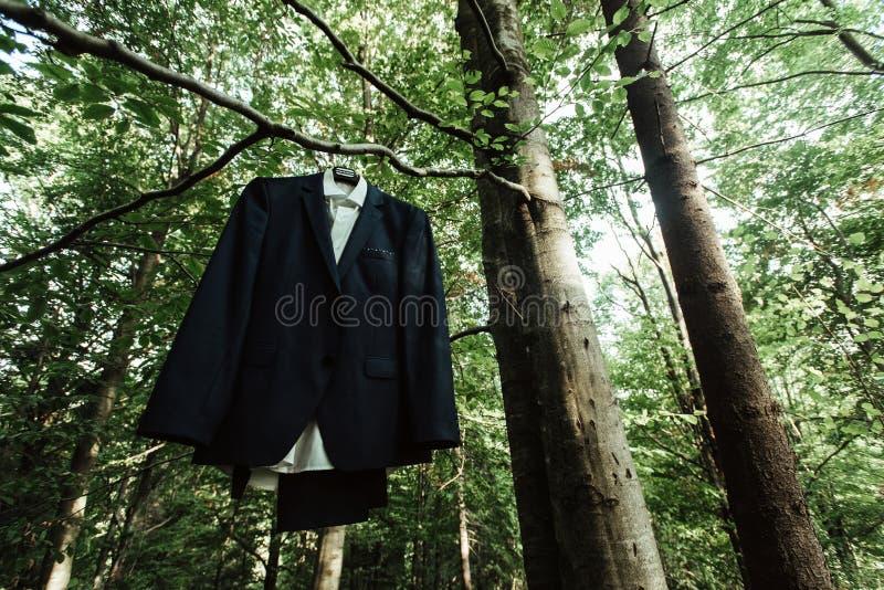 Het verbazende modieuze elegante huwelijkskostuum hangen op een boom in su stock afbeeldingen