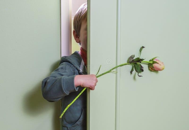 Het verbergen met bloem royalty-vrije stock afbeelding