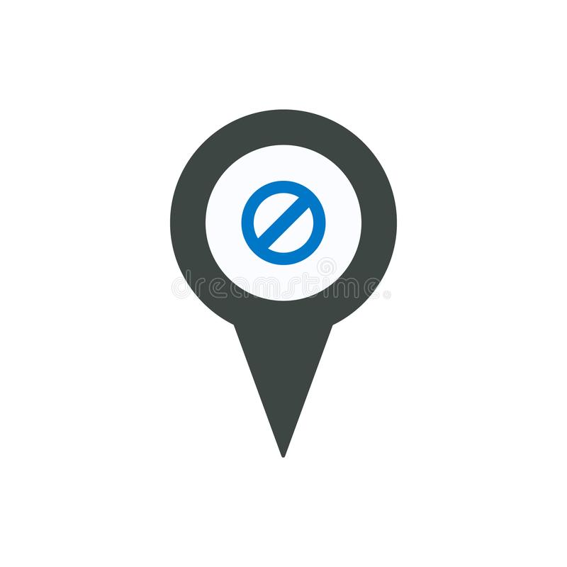 Het verbod ontkent van de de speldplaats van de plaatsteller het puntpictogram vector illustratie