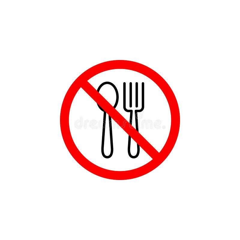 Het verboden eten, forkspoon pictogram kan voor Web, embleem, mobiele toepassing, UI UX worden gebruikt vector illustratie