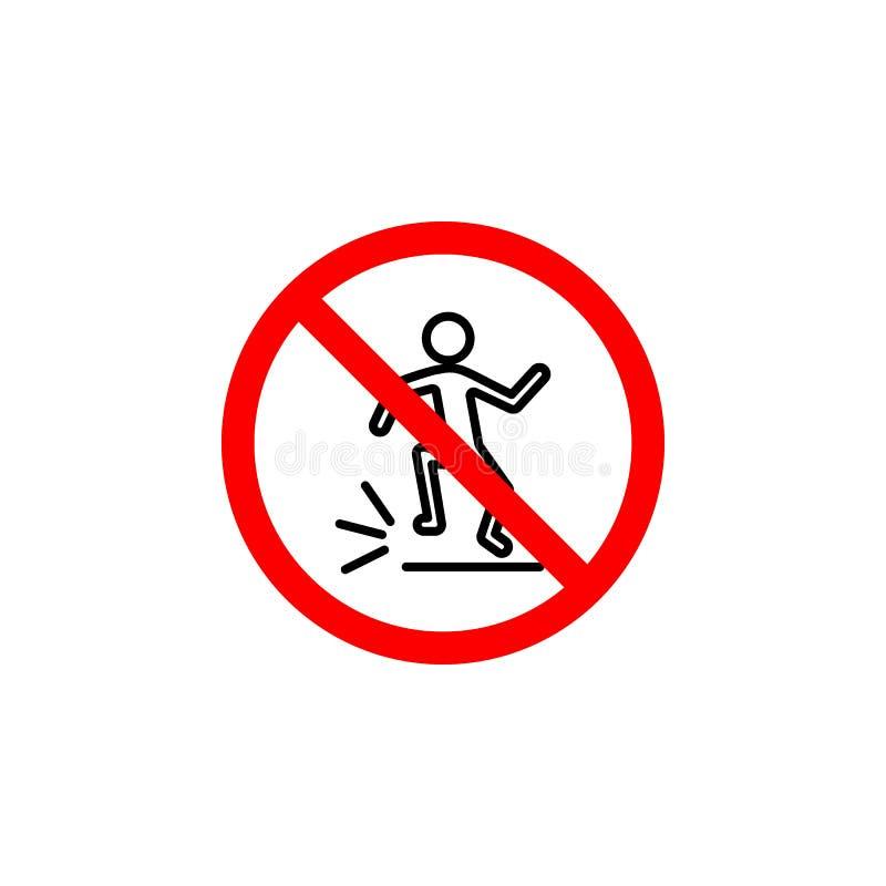 Het verboden het springen pictogram kan voor Web, embleem, mobiele toepassing, UI UX worden gebruikt stock illustratie