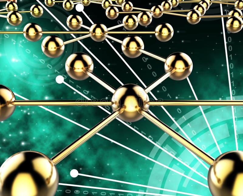 Het verbonden Netwerk toont Worlwide en Computer meedeel vector illustratie