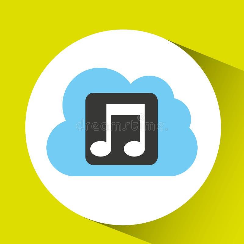 het verbonden ontwerp van de wolkenmuziek download stock illustratie