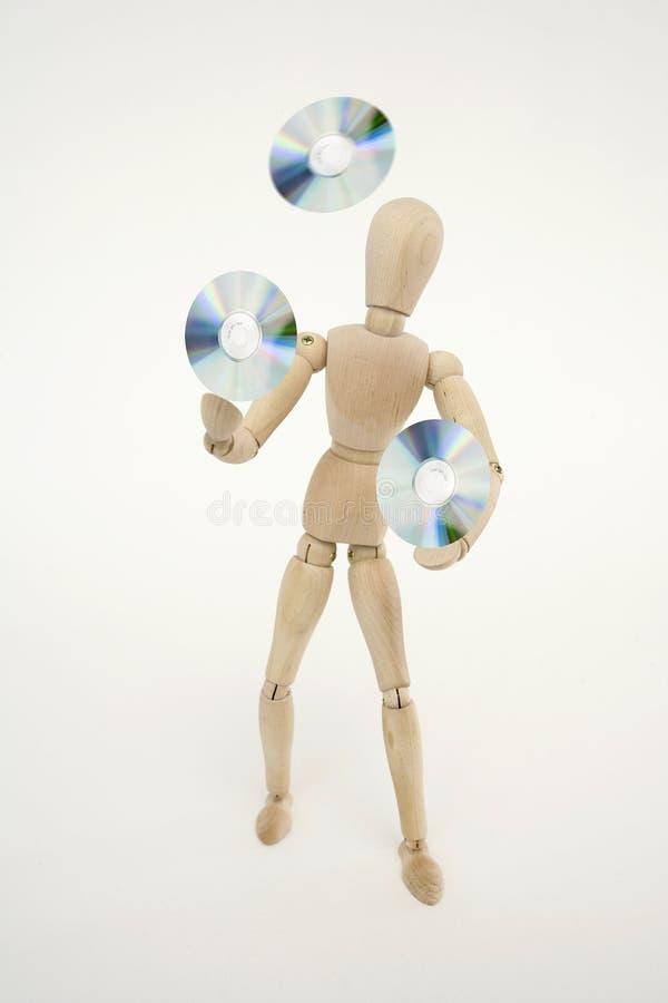 Het verbonden pop jongleren met met cds stock foto's