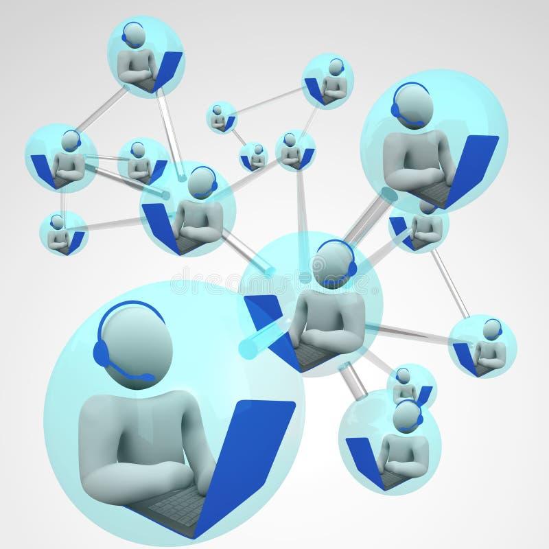 Het verbonden Verbonden Voorzien van een netwerk van de Computer Mededeling royalty-vrije illustratie
