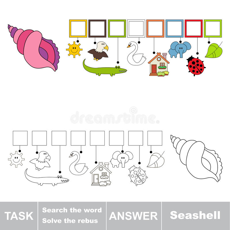 Het verborgen woord, het eenvoudige onderwijsjong geitjespel zoek stock illustratie