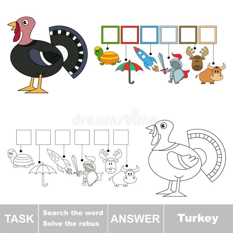 Het verborgen woord, het eenvoudige onderwijsjong geitjespel zoek royalty-vrije illustratie