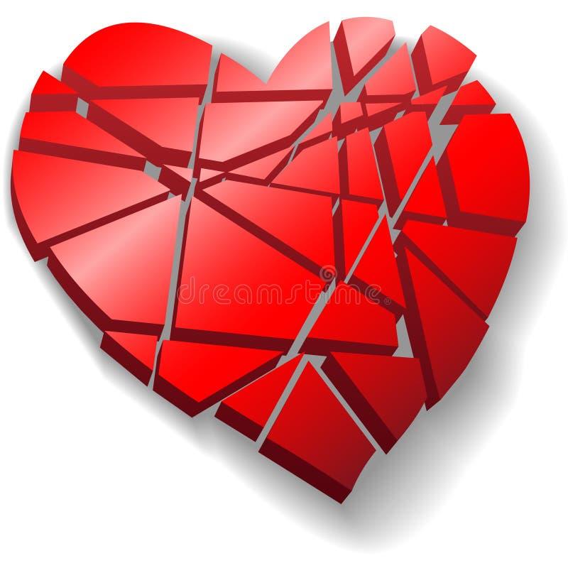 Het verbrijzelde rode hart van de Valentijnskaart dat aan stukken wordt gebroken stock illustratie