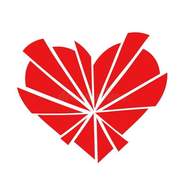Het verbrijzelde rode pictogram van het liefdehart in 15 die stukken, op een witte achtergrond worden geïsoleerd vector illustratie