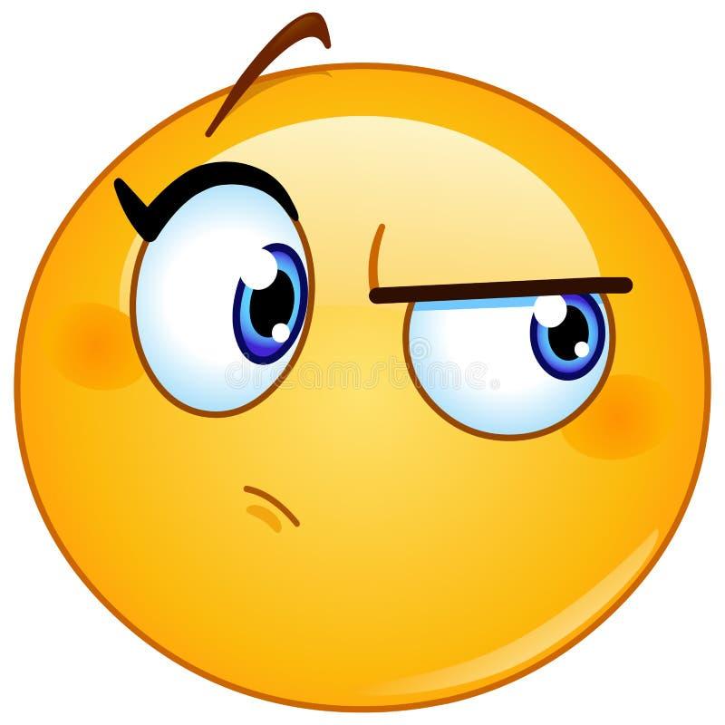 Het verdenken van wijfje emoticon stock illustratie