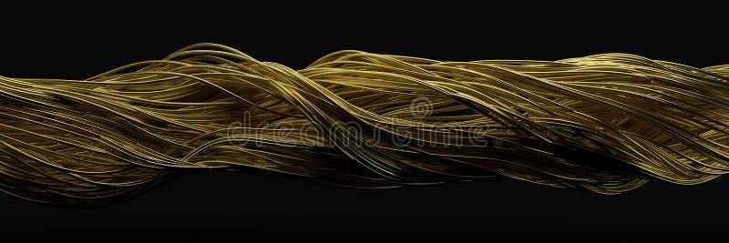 Het verdraaien van gouden draden stromende metaalstaven op lucht 3D Illustratie vector illustratie