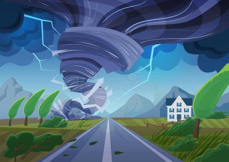 Het verdraaien van tornado over weg die de burgerlijke bouw vernietigen Orkaanonweer in plattelandslandschap dor klimaat in Thail stock illustratie