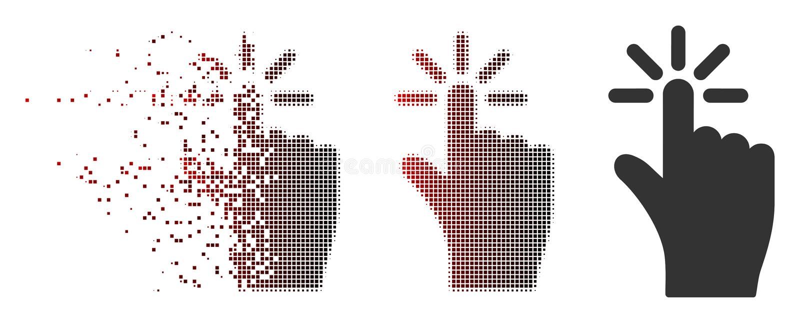 Het verdreven Halftone Pixel klikt Pictogram vector illustratie