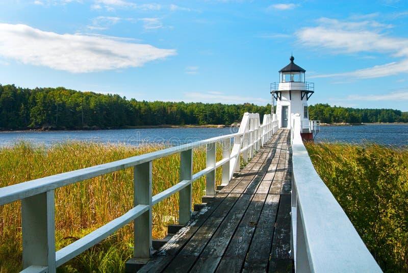 Het verdubbelen van Puntvuurtoren dichtbij Boothbay, Maine royalty-vrije stock foto