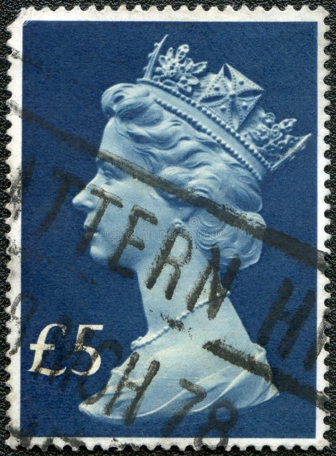 Het VERENIGD KONINKRIJK - 970s: toont Koningin Elizabeth II stock foto