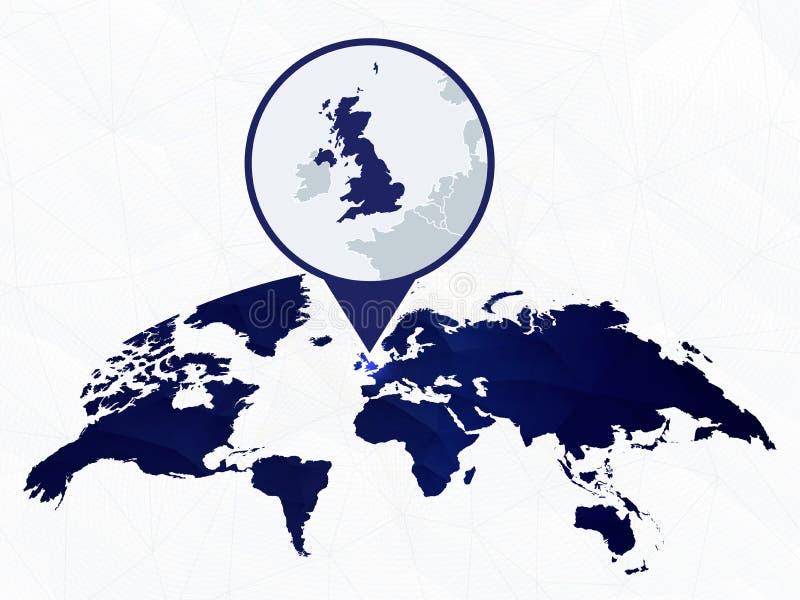 Het Verenigd Koninkrijk gedetailleerde die kaart op blauwe rond gemaakte Wereldkaart wordt benadrukt royalty-vrije illustratie