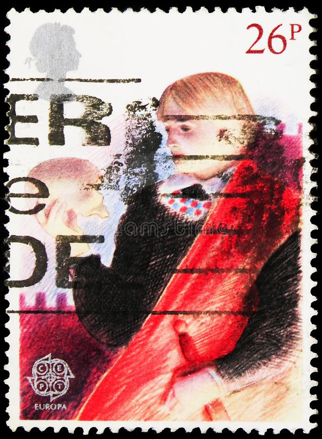In het Verenigd Koninkrijk gedrukt poststempel is Hamlet, Europa (C E P T ) - Historische gebeurtenissen - British Theaterserie,  royalty-vrije stock foto's