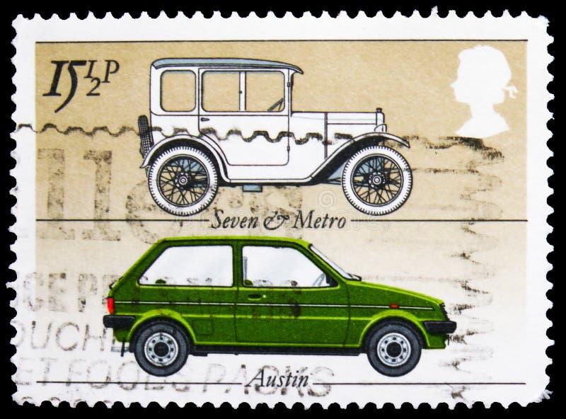 In het Verenigd Koninkrijk gedrukt postzegel toont Austin 'Seven' en 'Metro', British Motor Cars serie, circa 1982 royalty-vrije stock fotografie