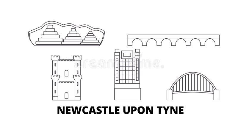 Het Verenigd Koninkrijk, Newcastle op de Tyne-de horizonreeks van de lijnreis Het Verenigd Koninkrijk, Newcastle op de Tyne-de ve vector illustratie