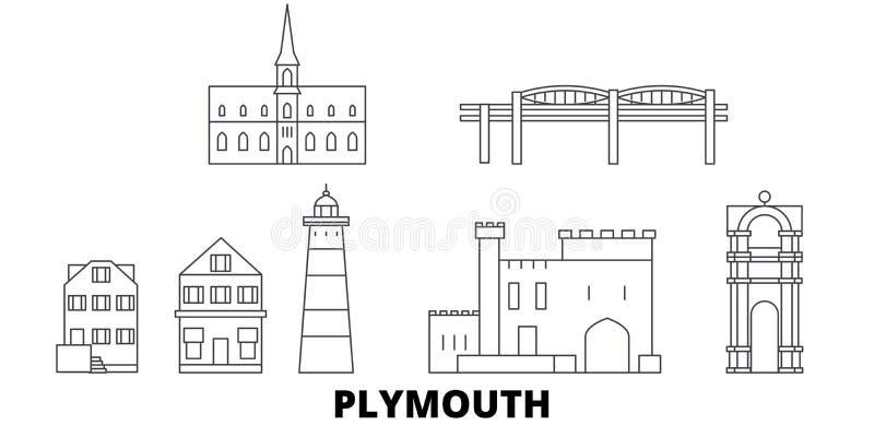 Het Verenigd Koninkrijk, Plymouth-de horizonreeks van de lijnreis Het Verenigd Koninkrijk, Plymouth-de vectorillustratie van de o vector illustratie