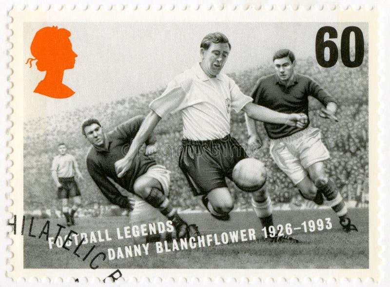 HET VERENIGD KONINKRIJK - 1996: toont Robert Dennis Danny Blanchflower 1926-1993, de legenden van de reeksvoetbal stock afbeelding